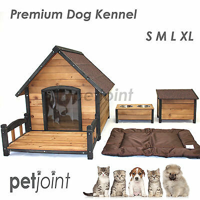 Wooden Pet Dog Kennel House Large Timber Home Cabin Wood In / Outdoor Puppy Run