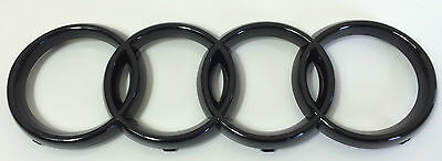 AUDI RINGS BLACK GLOSS FRONT GRILLE GRILL BADGE LOGO EMBLEM 273mm x 94mm