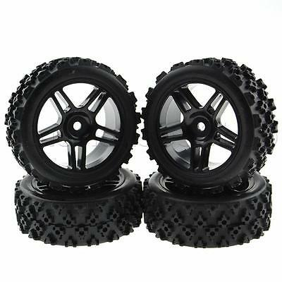 4x RC Tires&Wheels 12MM Hex Crossing Rubber for 1:16 Off Road 1:10 On Road Black