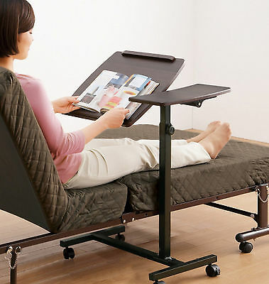 Portable Height Angle Adjustable Rolling Laptop Sofa Bed Table Stand 2 Surfaces