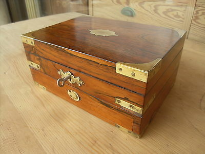 Small Victorian Antique Rosewood & Brass Box / Chest With Drawer ( Lockable )
