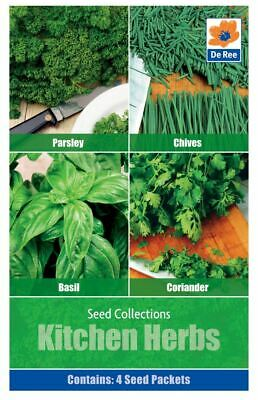 De Ree Kitchen Herbs Seeds 4 in 1 Packet Of Parsley Chives Basil Coriander