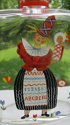 Antique Glass Bottle Hand Painted Design Made In Austria Ethnic Costume