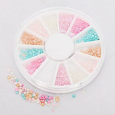 6Colors Nail Art Round Pearl Beads Rhinestones Tips Manicure 3D Decoration BF