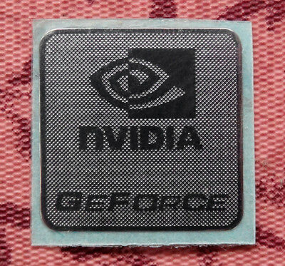 Nvidia GeForce Silver Chrome Sticker 17.5 x 17.5mm Case Badge Logo