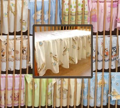 BABY COT VALANCE SHEET WITH FRILLS ALL ROUND /TO FIT COT/COT BED - Animals Print