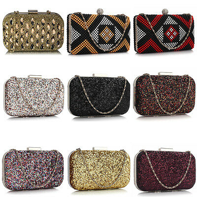 Women Glitter Beaded Sparkle Hard Case Compact Ladies Evening Bridal Clutch Bag