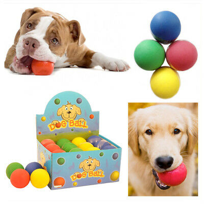 2,4,6 Dog Play Ball Hard Rubber Bright Colors Fetch Balls Pet's Fun Toys Care