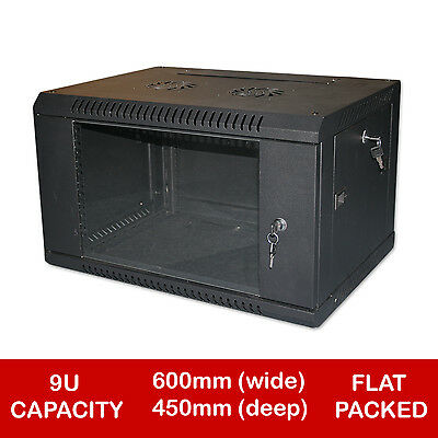 "9U 19"" Black Network Cabinet Data Comms Wall Rack - Flat Packed"