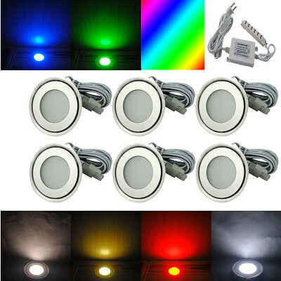 6x 58mm Round LED Floor Stair Deck Light Kitchen Roon Indoor Home Decor Lamp 12V