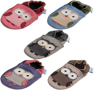 Minifeet Soft Leather Baby Shoes 0-6,6-12,12-18,18-24 Mth & 2-3 Yrs Owl