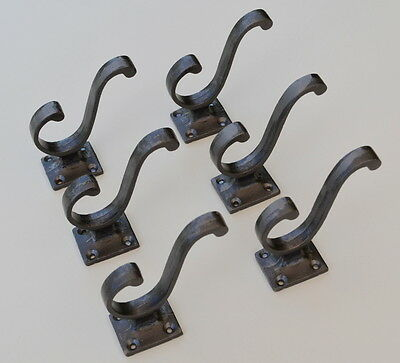 "6 X Antique/vintage ""scroll"" Style Cast Iron Double Coat Hook"