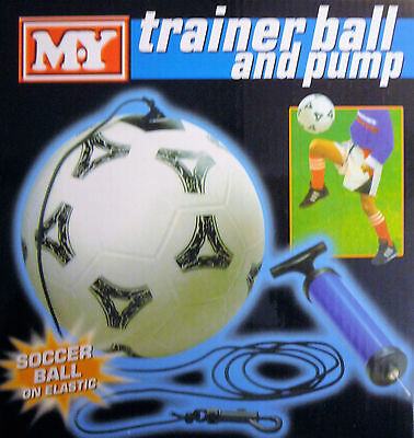 Size 5 Trainer Ball and Pump (Football on Elastic & ankle Strap) Improve Skill