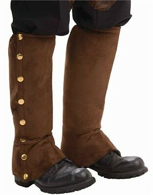 Deluxe Steampunk Cowboy Costume Brown Boot Tops Spats