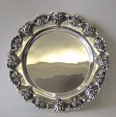Fine 925 Sterling Silver Ornate Round Serving Platter Tray 25230/23