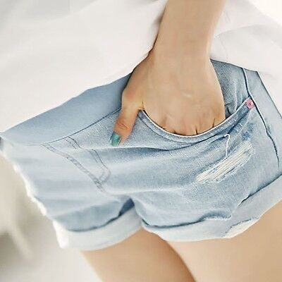 New Women Maternity Shorts Over Bump Hot Pants Elastic Pregnant Short Jeans