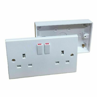 Double Wall 2 Gang Plug Electric Socket Switched + Pattress Box Back
