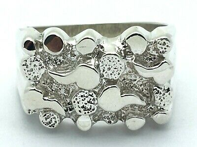 925 Sterling Silver Solid Nugget Ring Sizes 8-12