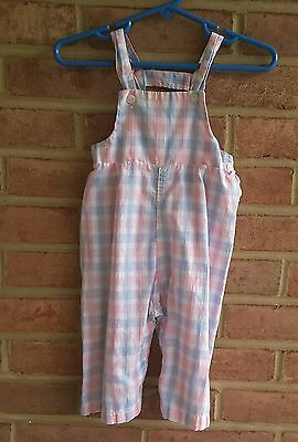 Vintage baby / toddler cotton overalls pants pink blue tartan spring size 12 mos