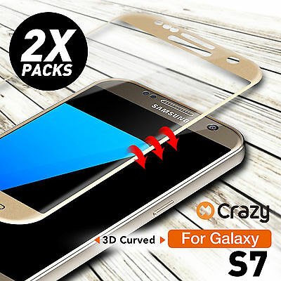 2 x Full Coverage 9H Tempered Glass Film Screen Protector for Samsung Galaxy S7