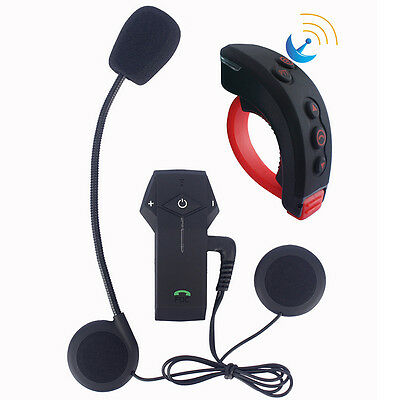 1000M BT Motorcycle Helmet Bluetooth Intercom Interphone Headset+Remote control