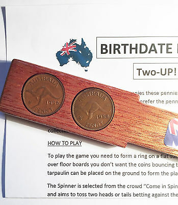 1958 Birthdate Penny Two-Up Set With 2 Australian Pennys/coins Great Gift