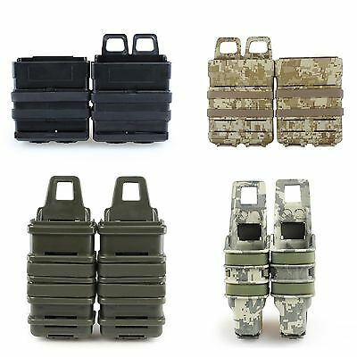 1Pair Tactical Fast Mag Pouch Holster 5.56 7.62 Magazine MOLLE M4 M14 AK MP7 MP5