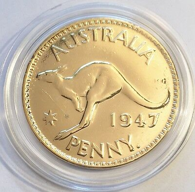 1947 Circulated Australian Penny Coin 999 24k Gold HGE in Acrylic Capsule. KG V1