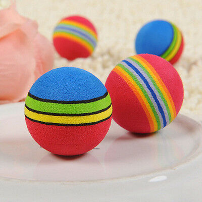 6x Colorful Pet Cat Kitten Soft Foam Rainbow Play Balls Activity Toys Funny Chew