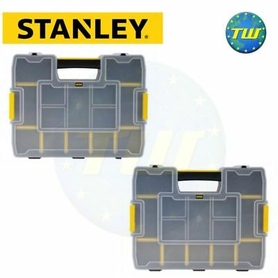 2x Stanley Stackable Sortmaster Junior Parts Organiser Tool Screw Storage Box