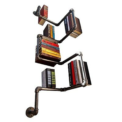 Pipe Shelf Bookcase Storage Bookshelf Furniture Shelving Book Display Shelves
