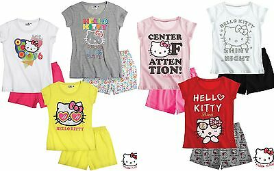Girls BRAND NEW OFFICIAL SANRIO HELLO KITTY SHORT SUMMER PYJAMAS 3 4 5 6 7 8 yrs