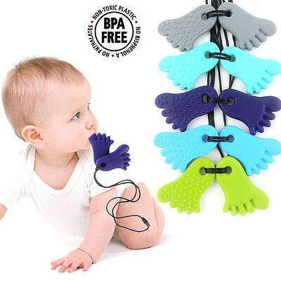 Healthy Baby Silicone Teething Necklace Chewable Feet Pendant Teether Bpa Free