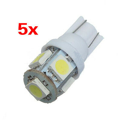 5x T10 5 LED 5050 SMD W5W 501 Xenon White Car Side Light Wedge Tail Lamp UK BF
