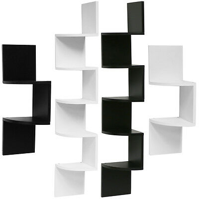Hartleys Zig Zag Wood Floating Corner Wall Shelf Unit Modern Display Shelving