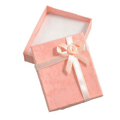 2 x Peach Pink Bowtie Accent Cardboard Gift Cases Present Boxes BF