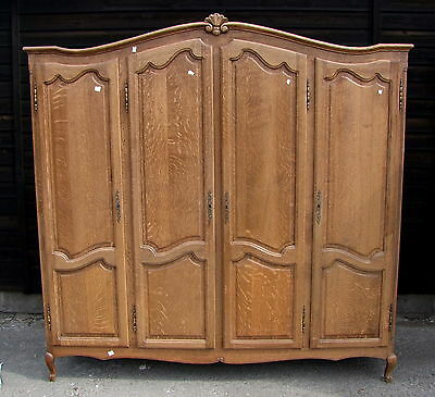 Quality Vintage Louis XV Style French Carved Oak 4 Door Wardrobe  -  (101)