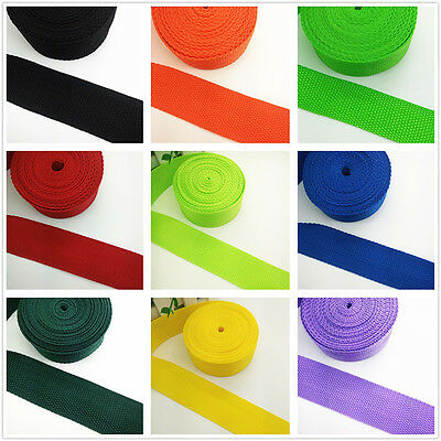 New Hot 2 5 10 50 Yards Length 1inch 25mm Width Nylon Webbing Strapping 22 color