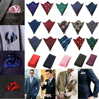 Chic Men Pocket Square Hankerchief Silk Paisley Dot Floral Hanky Wedding Party
