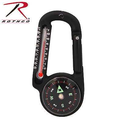 Compass Carabiner Thermometer 45mm Black Carabiner Survival Pack Clip 6500