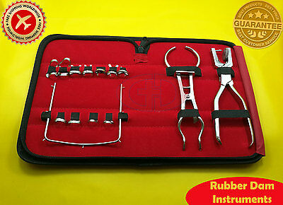 Rubber Dam Starter Kit Of 14 Pcs Dental Surgical Instruments Free Shipping