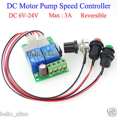 DC 6V 9V 12V 18V 24V 3A Motor Pump Speed Controller Regulator Reversible Switch