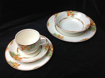 1950's Empire ware cup, saucer, plate set Highland autumn leaves orange & green