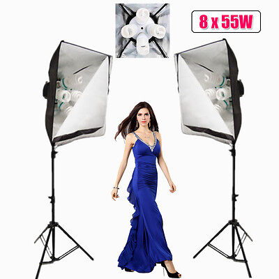 Photography 8x55W Photo Studio Softbox Continuous Lighting Soft Box Stand Kit