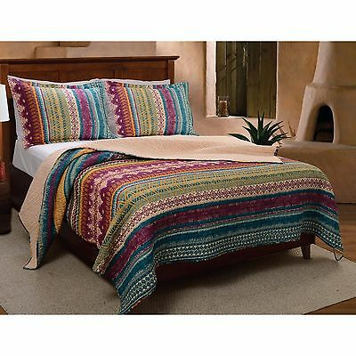 Beautiful Blue Teal Purple Green Red Bohemian Southwest Country Quilt Set New
