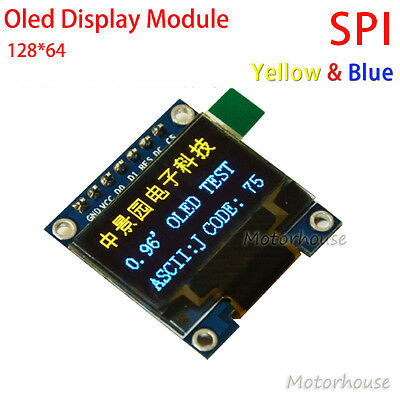 """Yellow&Blue 0.96"""" SPI Serial 128x64 OLED LCD Display Module for Arduino 3.3v 5v"""