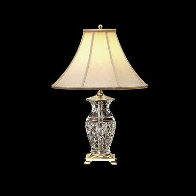 """NEW Waterford Crystal KINGSLEY 22"""" Table Lamp - Round Base - WHITE SHADE - FREE"""