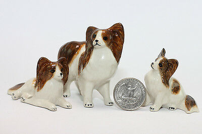 Papillon Family Miniature Ceramic Animals Figurine,Collectibles,terrarium dogs