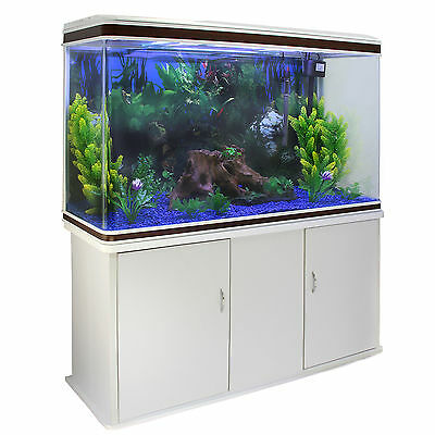 Fish Tank Aquarium White Cabinet Complete Set Up Tropical Marine 4ft 300 Litre
