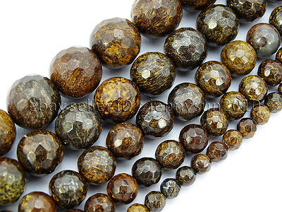 "Natural Bronzite Jasper Gemstone Faceted Round Beads 15"" 4mm 6mm 8mm 10mm 12mm"